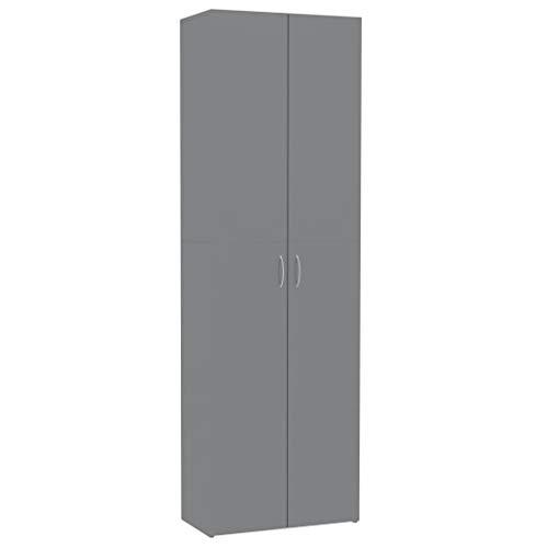 Lechnical Armadio da Ufficio Moderno e Pratico, Armadio per Ufficio in Particelle di Legno Grigio Lucido 60x32x190 cm (LxPxH) -2 Ante e 5 Piani