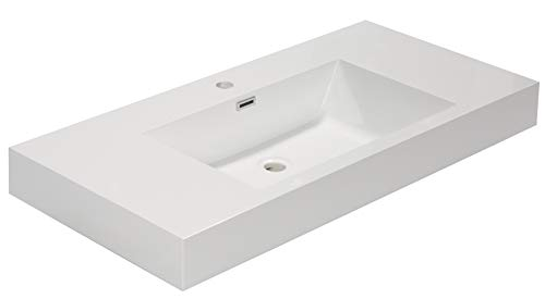 Aquamoon Venice Bathroom Vessel Sink – Shallow Basin for Counter Top – Pre-Drilled for Single Handle Faucet (36