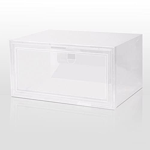 Clamshell - Caja de zapatos apilable para deportes, organizador de zapatos, cajón, plástico grueso, transparente, estante de exhibición AJ, 33,5 x 24,5 x 17,5 cm, transparente