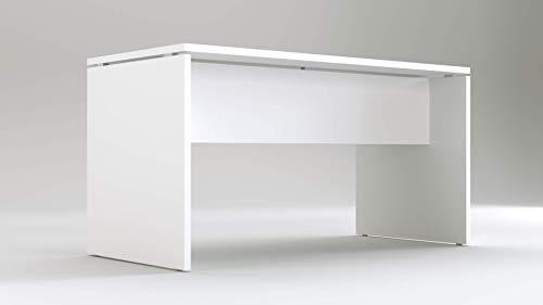 TIME Scrivania per Ufficio o casa Bianca | Larghezza 140 cm | profondità 65 | Altezza 74 cm