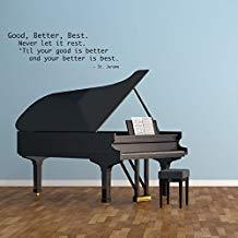 Vivityobert - Adhesivo decorativo para pared, diseño de texto en inglés 'Good Better Best, Never Let It Rest con cita motivadora para casa, sala de música, escuela, aula, trabajo, decoración de oficina