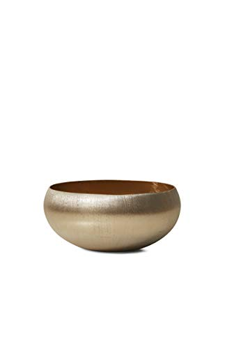 Serene Spaces Living Gold-Brushed Textured Aluminum Decorative Bowl, Measures 8
