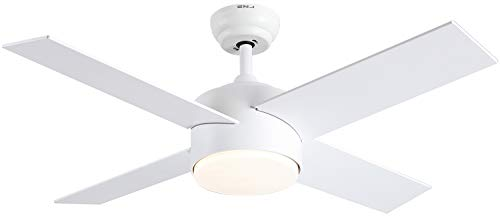 Ceiling Fan with Lights and Remote Control,SNJ Modern Ceiling Fan for Living Room Bedroom Dining Room,Indoor (44 Inch, White)