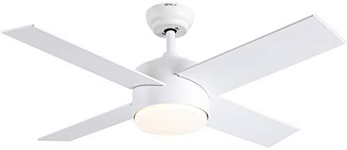 Ventilador de techo de 44 pulgadas con luces y mando a distancia (blanco)