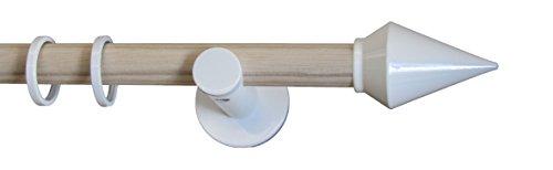 indeko CHEOPS, Gardinenstange Ø 20 mm, Kombination aus Holz und Metall auf Maß, 1-Lauf, esche/weiß, Komplettset mit Zubehör