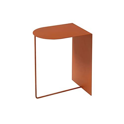 Mesita de Noche Mesa de Centro de Hierro Forjado Simple y Moderno, decoración del hogar Sala de Estar Sofá Mesa Auxiliar Mesa de Esquina de Mesa Lateral (Color : Orange)