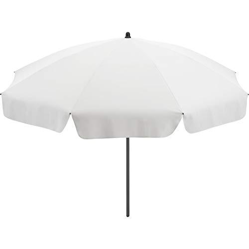 FARE Sonnenschirm Klassik Gr. S - 165cm Durchmesser - UV-Schutz 50+ für Balkon Garten Terrasse Sommer - Titan-Finish inkl. Drehfeststeller Sicherheitsschieber Tragetasche (Weiß)