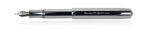 Kaweco Füllfederhalter Al Sport I Premium Füllfederhalter Luxus für Tintenpatronen mit hochwertiger Stahlfeder I Kaweco Sport Füller 13,5 cm Raw Federbreite: B (Breit)