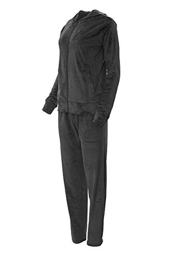 Tendegrees Damen Nicki-Anzug Hausanzug Freizeitanzug Wellnessanzug 2teilig Schwarz XL