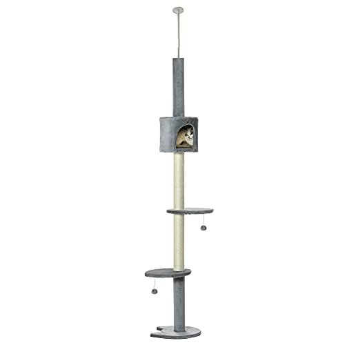 Pawhut Árbol Rascador para Gatos Rascador para Fijar al Techo Altura Ajustable 220-280 cm con Plataformas Cueva Postes de Sisal Bolas Colgantes Gris Claro