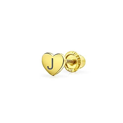 Tiny Helix - Pendiente de oreja para cartílago (A a Z), diseño de corazón unisex chapado en oro amarillo de 14 quilates, plata 925
