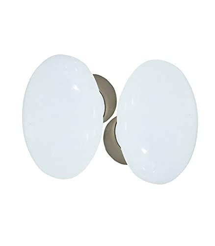 DT 2000254363pomo doble ovalado (porcelana blanco sobre cubeta (acero, niquelado satinado)