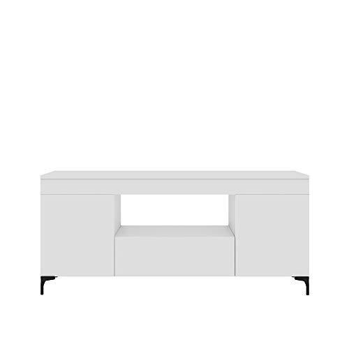 Selsey Gusto - Mueble para TV - Blanco Mate - 137 cm – Moderno