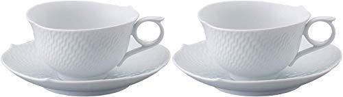 【正規輸入品】 マイセン [MEISSEN] 波の戯れ ホワイト ペア ティー カップ&ソーサー 000000/29633/4T