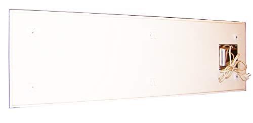 insidehome | Infrarotheizung Glasheizung ELEGANCE Classic H | Glas rahmenlos | ergänzbar mit bis zu 3 Handtuchhaltern | Farbe: weiss | 550 Watt – 130 x 40 x 1,8 cm kaufen  Bild 1*