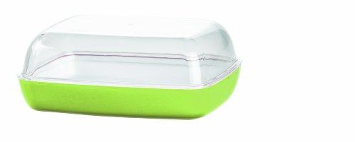 Emsa 512644 VIENNA Beurrier en plastique, 13.5 x 10 x 6cm, transparent/vert