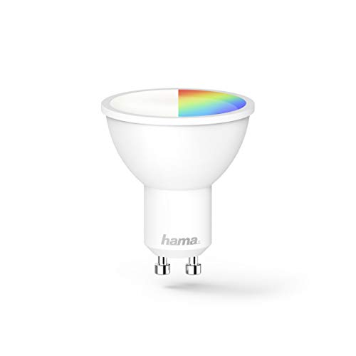Hama GU10 Wi-Fi LED-Lampe, 4,5W (ohne Hub, dimmbar, gesteuert via Alexa/Google Home/App, 2,4GHz, 2700K/warmweiß/RGB-Farben) WLAN Lampe, Echo/Echo Dot/Echo Spot/Echo Plus/Echo Show kompatibel
