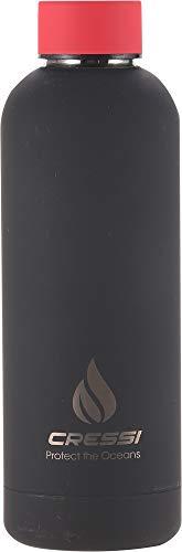 Cressi Rubber Coated Thermal Flask, Borraccia Sportiva Termica Rivestita in Gomma Unisex Adulto, Nero/Rosso, 500 ml
