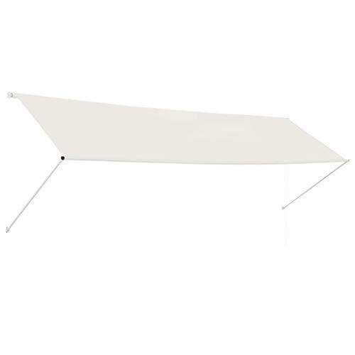 Tidyard Einziehbare Markise Sonnenmarkise Balkonmarkise Handbetrieben Sonnenschutz Stoffgewicht 180 g/m² 400 x 150 cm Cremeweiß