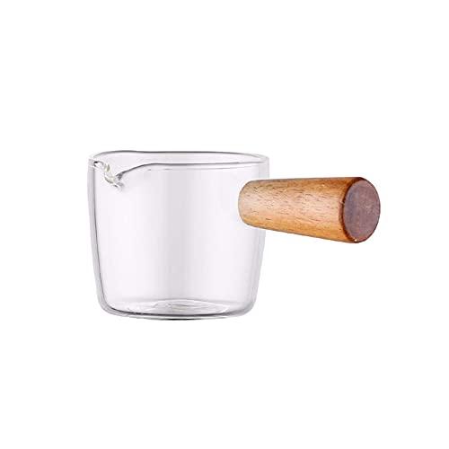 Jarra para nata multifuncional Jarra para leche de vidrio con jarra para nata transparente fabricada con mango de madera y azucarero 50 ml (100 ml)