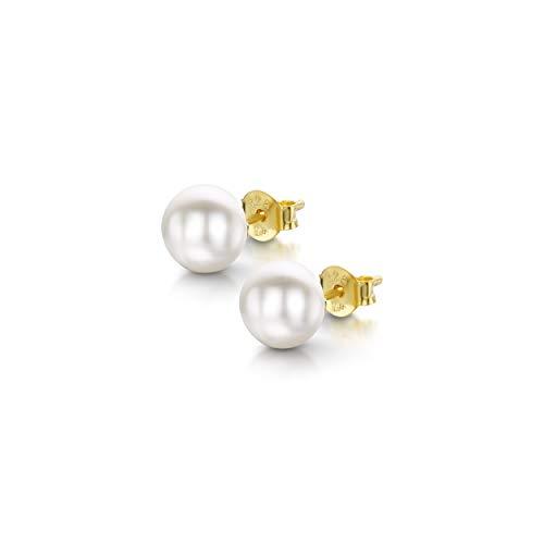 Amberta Pendientes de Botón para Mujer en Plata de Ley 925 con Perlas de Agua Dulce: Perla Blanca Chapada en Oro 7-8 mm