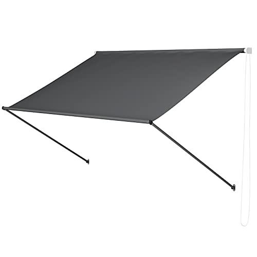MVPower Toldo de Sombra, Toldo para Parasol con Cadena, para Balcón y Terraza, Resistente a los Rayos UV, 250x120 cm, Gris