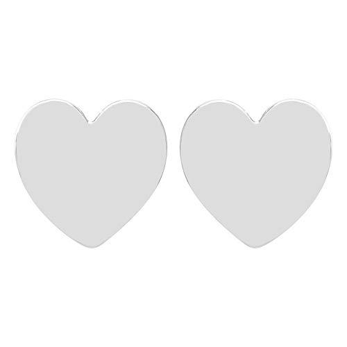 Pendientes mujer corazón de plata 925% bañada en oro blanco 7 mm. Pendientes corazón de plata. Fabricado en Italia