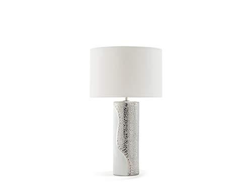 Beliani Tischlampe im Glamour Stil Kunstseide/Porzellan weiß/Silber Aiken