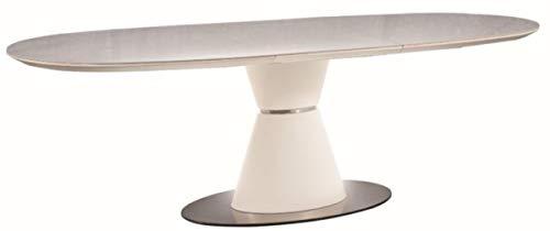 Casa Padrino Mesa de Comedor de Lujo Blanco/Blanco Mate/Plata 160-210 x 90 x A. 76 cm - Mesa de Cocina Extensible Ovalada Moderna con Placas de cerámica en Aspecto mármol - Muebles de Cocina