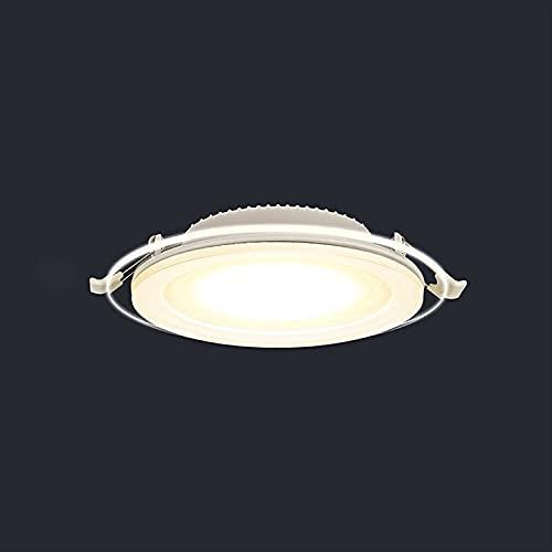 Raelf Lámparas de luz empotradas Europeas Ultra Delgadas iluminación empotrada Tricolor Tricolor Luces de Techo de Cristal de Aluminio Personalidad Transparente Luz de Techo Creativo para baño Cocina