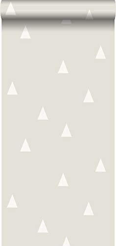 behang grafische driehoekjes lichtgrijs - 128867 - van ESTAhome