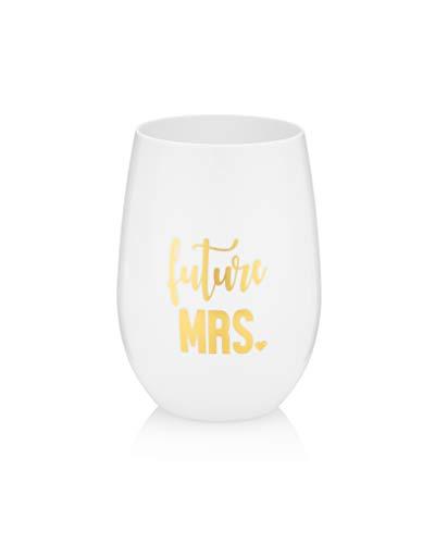 Copas de vino y regalos de fiesta de novia, 100% plástico Tritan irrompible con detalles de lámina dorada, 16 onzas (White Future Mrs, 1)
