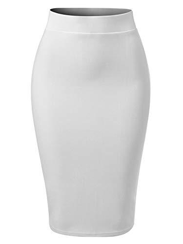 MixMatchy Women's Casual Classic Bodycon Pencil Skirt White 3XL