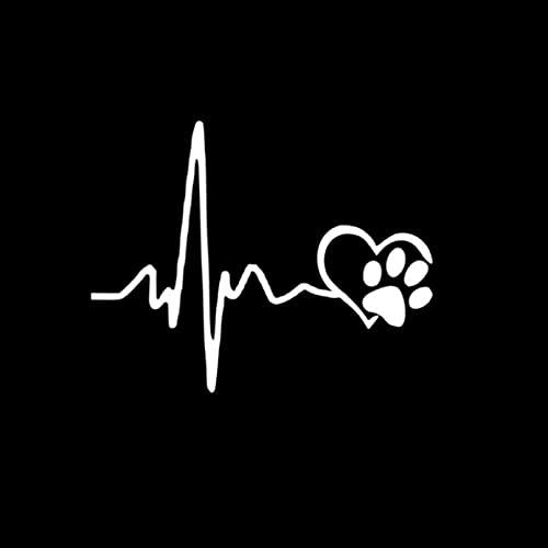 GDYL Pegatinas de Coche, Pegatina de Coche Interesante, línea de Vida de Latido del corazón de Moda y Pata, Gato, Perro, corazón, Amor, Accesorios, calcomanía, Ventana, PVC, 14 * 11 cm