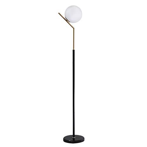 JLXW Moderne staande lamp, leeslamp voor woonkamer, slaapkamer & werkkamer; LED-vloerlamp met hoog glazen scherm en marmeren fitting, warm licht, dimmer schakelaar