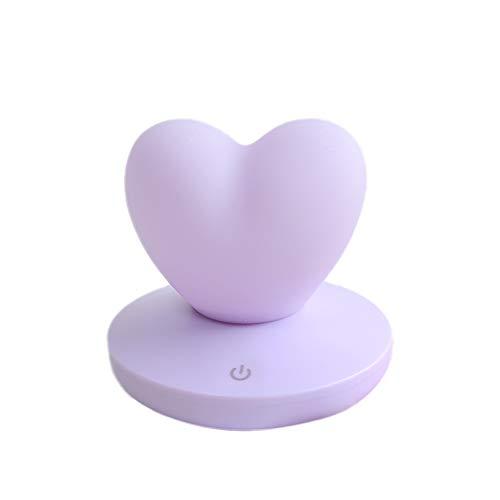 Qinlee - Luce notturna a LED per bambini, con ricarica USB, in silicone, luce notturna a forma di cuore, per camera dei bambini, camera da letto, soggiorno, campeggio, picnic, viola