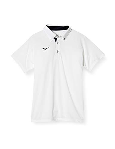 [ミズノ] トレーニングウェア ポロシャツ(ボタンダウン) 半袖 スタンダード 吸汗速乾 32MA9180 ホワイト/ディープネイビー L