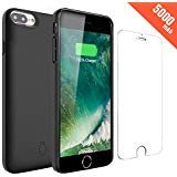 Hathcack Coque Batterie iPhone 8/7/6/6s,5000mAh Chargeur Portable Batterie Externe Rechargeable Puissante Power Bank Coque Chargeur de Protection - Noir
