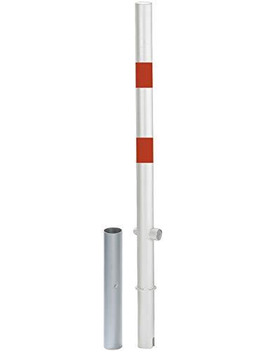 GAH-Alberts 781392 Absperrpfosten Passau - herausnehmbar, zum Einbetonieren, mit Dreikantschloss, feuerverzinkt, weiß mit roten Ringen, ohne Ösen, Ø60 / 1000 mm