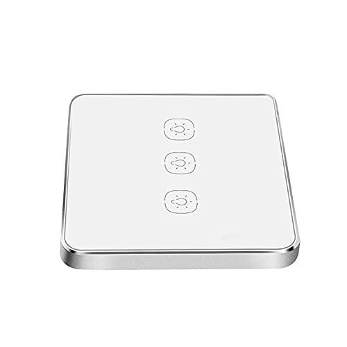 Derybol Interruptor WiFi Interruptor Inteligente No se Requiere Cable Neutral, Debe Trabajar con el Control Remoto de la aplicación, Control de Voz (tamaño : 3 Gang)