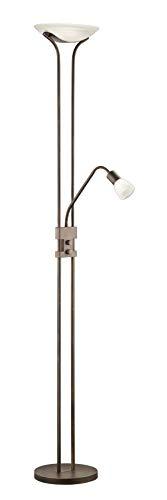 Trio Leuchten LED Fluter Santo II 421910228, Metall rostfarbig antik, Glas alabasterfarbig weiß, 5x 4.5 Watt