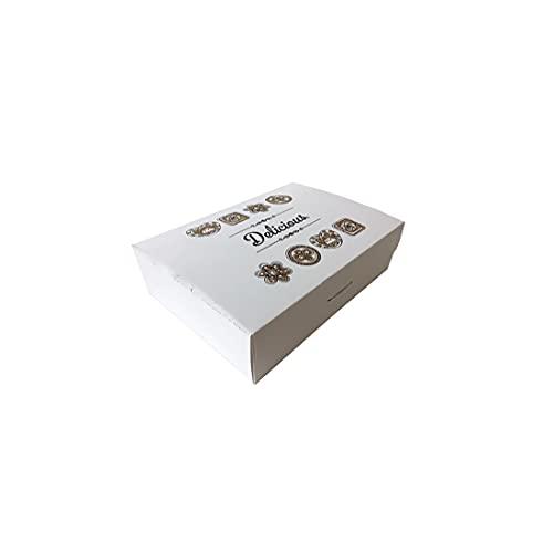 Gráficas Salaet – 12 Cajas cartón blanca pastelería – Caja plegable - Ideal para productos de Pastelería y repostería - Caja tarta 1Kg - 150x 220 x60 mm