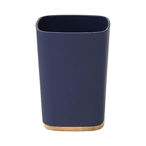 TENDANCE Bambu Bicchiere da Bagno in ABS e bambù Blu, 7,5x7,5x10,5 cm