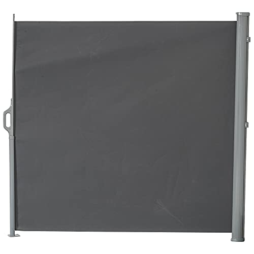 Outsunny 9.8' Retractable Folding Patio Privacy Side Awning with 50+ UV Protection, 2 Wall Brackets, & Polyester, Grey