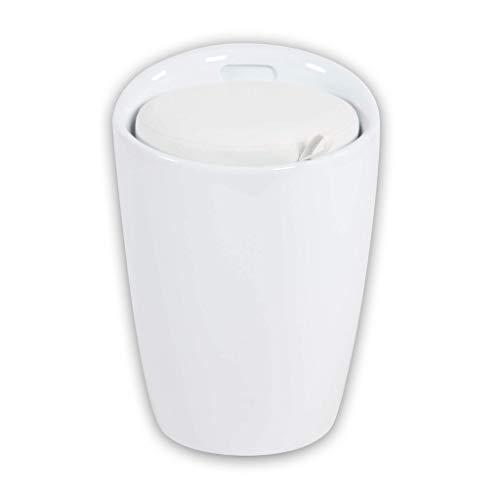 Milani Home s.r.l.s. Sgabello Pouf Contenitore in plastica con Cuscino Colore Bianco