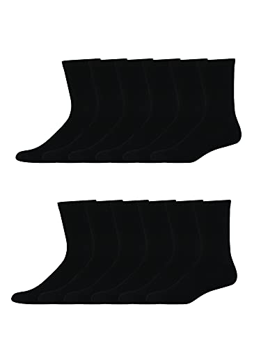 Hanes Men's X-Temp Cushioned Crew Socks 12-Pair Pack, Available in Big & Tall