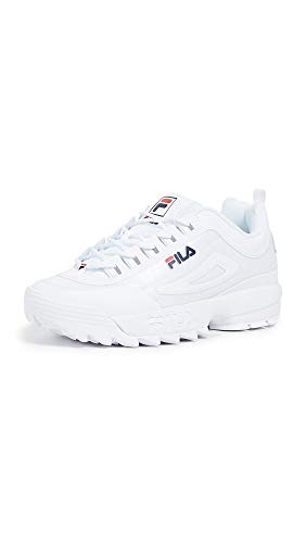 Fila Mens Disruptor II Premium, White/Navy/Red, 9 D(M) US