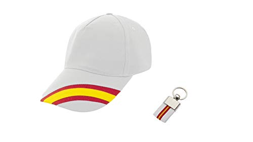 Gorra Blanca Bandera España Regulable Hombre y Mujer Incluido Llavero Lona Bandera de España a Juego. Accesorio Deportivo Padel, Golf, Tenis.
