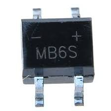 Electronics-Salon 10pcs MB6S 0,5 A 600 V Miniatur Mini SMD Bridge Gleichrichter.