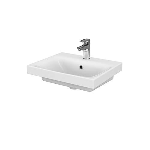 VBChome Kollektion Moduo 50 cm x 40 cm Waschtisch für Unterschrank Einbau Waschbecken mit Überlauf Weiß Keramik Waschtisch Handwaschbecken Einbau -Waschschale FÜR BADEZIMMER